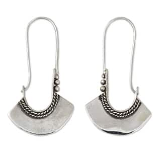 Handmade Sterling Silver Hollow Bell Delicate Hoop Style Earrings (Thailand)|https://ak1.ostkcdn.com/images/products/4279516/P12262107.jpg?impolicy=medium