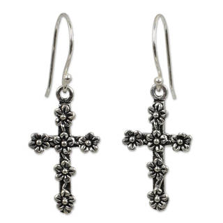 Handmade Sterling Silver 'Blooms and Crosses' Earrings (Thailand)
