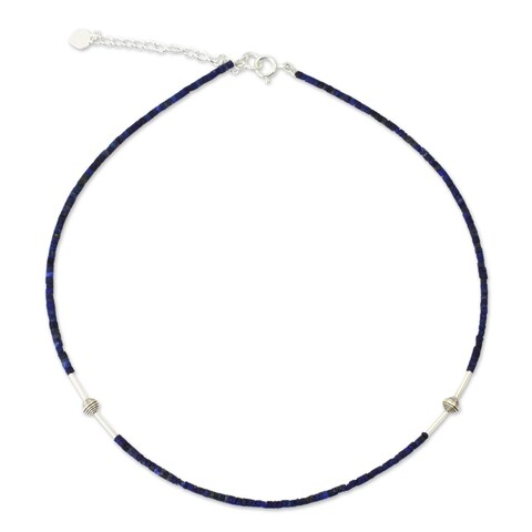 Handmade A Pure Soul Blue Lapis Lazuli Gemstones with 925 Sterling Silver Beads Adjustable Sleek Modern Women (Thailand)