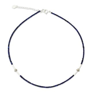 A Pure Soul Blue Lapis Lazuli Gemstones with 925 Sterling Silver Beads Adjustable Sleek Modern Womens Choker Necklace (Thailand)