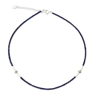 A Pure Soul Blue Lapis Lazuli Gemstones with 925 Sterling Silver Beads Adjustable Sleek Modern Women