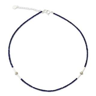 "A Pure Soul Blue Lapis Lazuli Gemstones with 925 Sterling Silver Beads Adjustable Sleek Modern Women - 7'6"" x 9'6"""