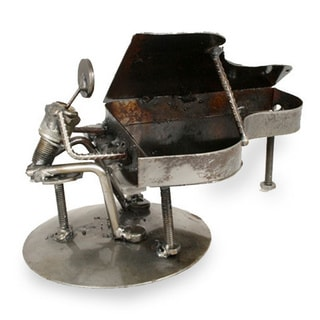 Iron 'Rustic Piano Man' Statuette (Mexico)