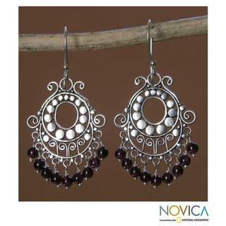 Bali Fanfare Artisan Handmade Women's Sterling Silver Red Garnet Gemstone Jewelry Drop Dangle Chande