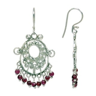 Bali Fanfare Artisan Handmade Women's Sterling Silver Red Garnet Gemstone Jewelry Drop Dangle Chande