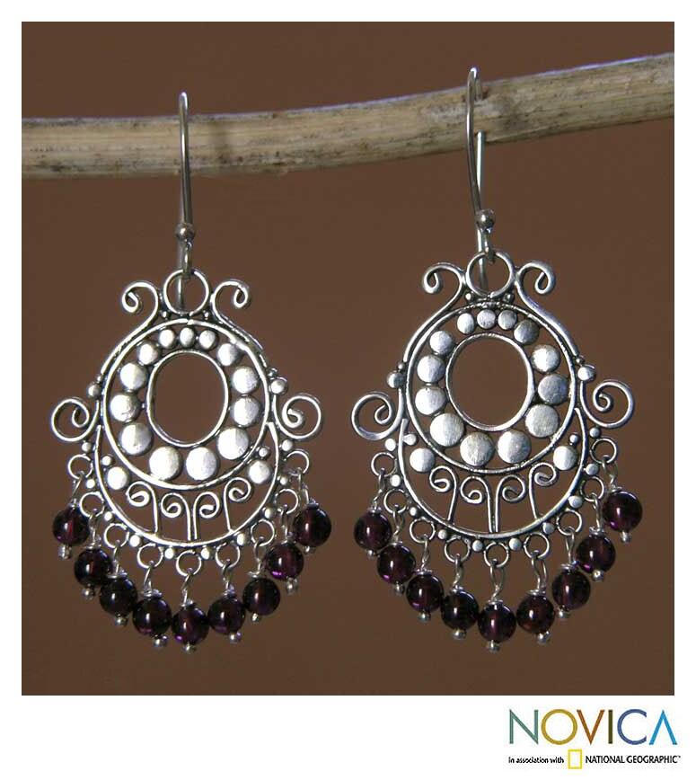 Bali Fanfare Artisan Handmade Women's Sterling Silver Red Garnet Gemstone Jewelry Drop Dangle Chandelier Earrings (Indonesia)