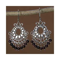 Bali Fanfare Artisan Handmade Women's Sterling Silver Red Garnet Gemstone Jewelry Drop Dangle Chandelier Earrings (Indonesia)