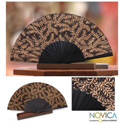 Silk 'Ebony Fern' Batik Fan, Handmade in Indonesia