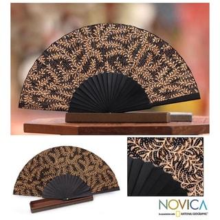 Handmade Ebony Fern Silk Batik Fan (Indonesia)