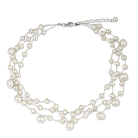 """Handmade Stainless Steel Moonlight Glow Pearl Choker Necklace (Thailand) - 7'6"""" x 9'6"""""""