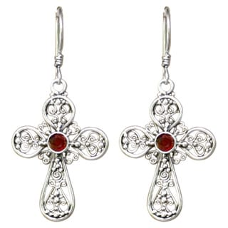 Handmade Sterling Silver Garnet 'Floral Cross' Dangle Earrings (Indonesia)
