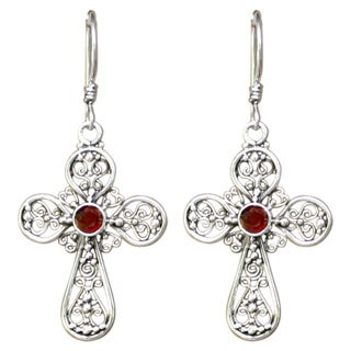 Handmade Sterling Silver Garnet 'Floral Cross' Dangle Earrings (Indonesia)