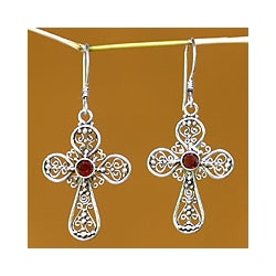 Sterling Silver Garnet 'Floral Cross' Dangle Earrings (Indonesia)