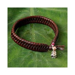 Nest Woven Strands of Brown Leather with Pink Quartz and 925 Sterling Silver Rose Charms Womens Wristband Bracelet (Thailand)