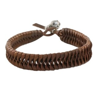 Nest Woven Strands of Brown Leather with Pink Quartz and 925 Sterling Silver Rose Charms Womens Bracelet (Thailand)