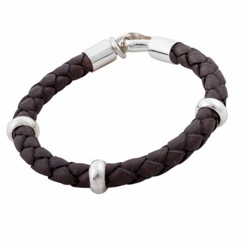 Handmade Bold Sterling Silver Leather Bracelet (Peru)