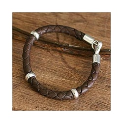 Bold Brown Handmade Artisan Designer Cultural Hook Clasp Fine Sterling Silver Leather Fashion Accessory Jewelry (Peru)