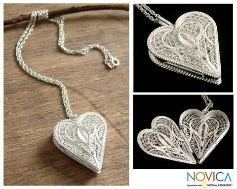 Handmade Loving Heart Gossamer Pendant Jewelry Romantic Lacy Filigree Silver Locket Keepsake Women's (Peru)