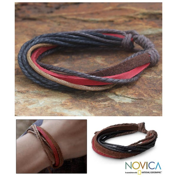 Leather 'Brown Red Riddles' Wristband Bracelet (Thailand)