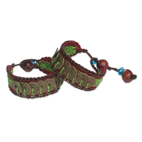Handmade Good Luck Wealth Protection Feng Shui Chinese Brass Coins on Red Green Brown Pair of Crocheted Bracelets (Thailand)