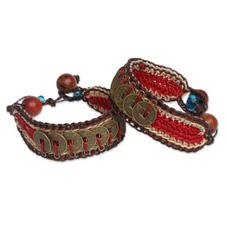 Good Luck Wealth Protection Feng Shui Chinese Brass Coins on Red Tan Brown Pair of Crocheted Wristband Bracelets (Thailand)