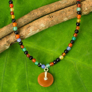 Sterling Silver 'Sunrise' Jade and Agate Choker (Thailand)