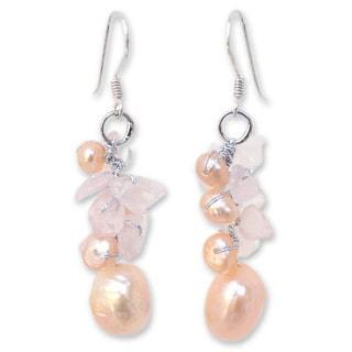 Handmade Silver 'Cloud Bouquet' Pearl/ Rose Quartz Earrings (Thailand)