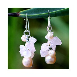 Handmade Silver 'Cloud Bouquet' Pearl/ Rose Quartz Earrings (Thailand)