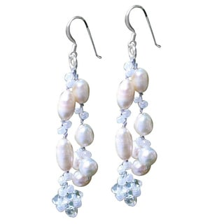 Handmade Sterling Silver 'Whisper' Pearl Waterfall Earrings (Thailand)