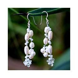 Sterling Silver 'Whisper' Pearl Waterfall Earrings (Thailand)