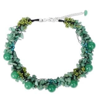 Gushing Green Dyed Quartzite Multi Shape Gemstones with Glass Accent Beads 925 Sterling Silver Womens Bead Necklace (Thailand)|https://ak1.ostkcdn.com/images/products/4279673/P12262237.jpg?impolicy=medium