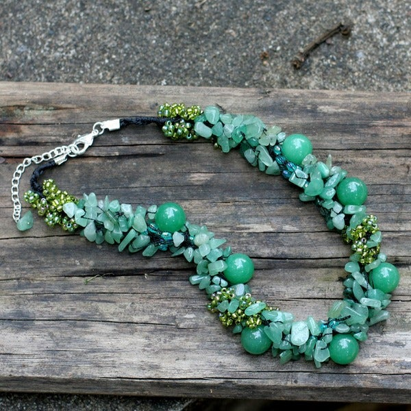 Gushing Green Dyed Quartzite Multi Shape Gemstones with Glass Accent Beads 925 Sterling Silver Womens Bead Necklace (Thailand)