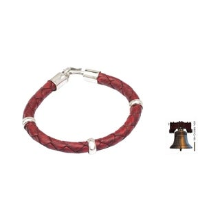 Handmade 'Bold Red' Leather Bracelet (Peru)