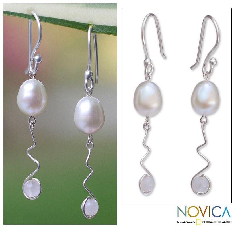 Silver 'Creation' Pearl and Rose Quartz Earrings (Thailand)