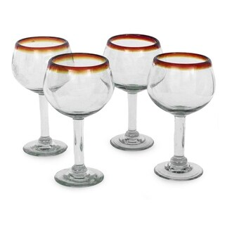 Amber Globe Clear with Brown Rim Set of 4 Barware Tableware Perfect Hostess Gift Stemmed Handblown Round Wine Glasses (Mexico)