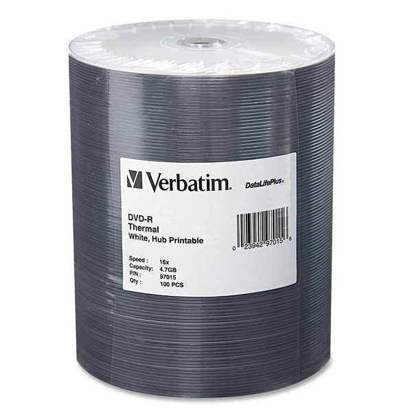 Verbatim DVD-R 4.7GB 16X DataLifePlus White Thermal Printable, Hub Pr