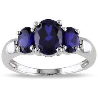 Miadora Sterling Silver Created Sapphire 3-stone Ring