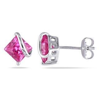 Miadora Sterling Silver Created Pink Sapphire Earrings