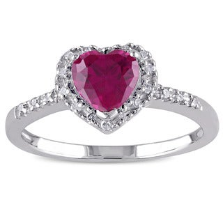 Miadora Sterling Silver Created Ruby and 1/10ct TDW Diamond Ring (J-K, I3)