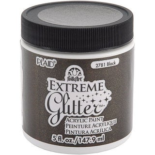 Folk Art Extreme 5-oz Black Glitter Paint
