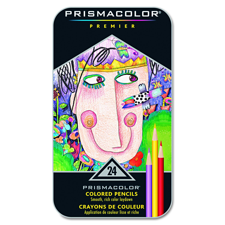 NEW Prismacolor Premier Colored Pencils Tin Set of 24 Assorted Colors 1753428