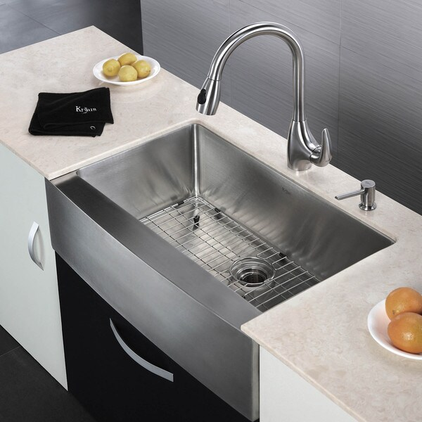 KRAUS 33 Inch Farmhouse Single Bowl Stainless Steel Kitchen Sink With  NoiseDefend Soundproofing   Free Shipping Today   Overstock.com   12264207