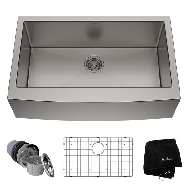 Kraus KHF200-33 Farmhouse Apron Front 33-in 16G 1-Bowl Satin Stainless Steel Kitchen Sink, Grid, Strainer, Towel