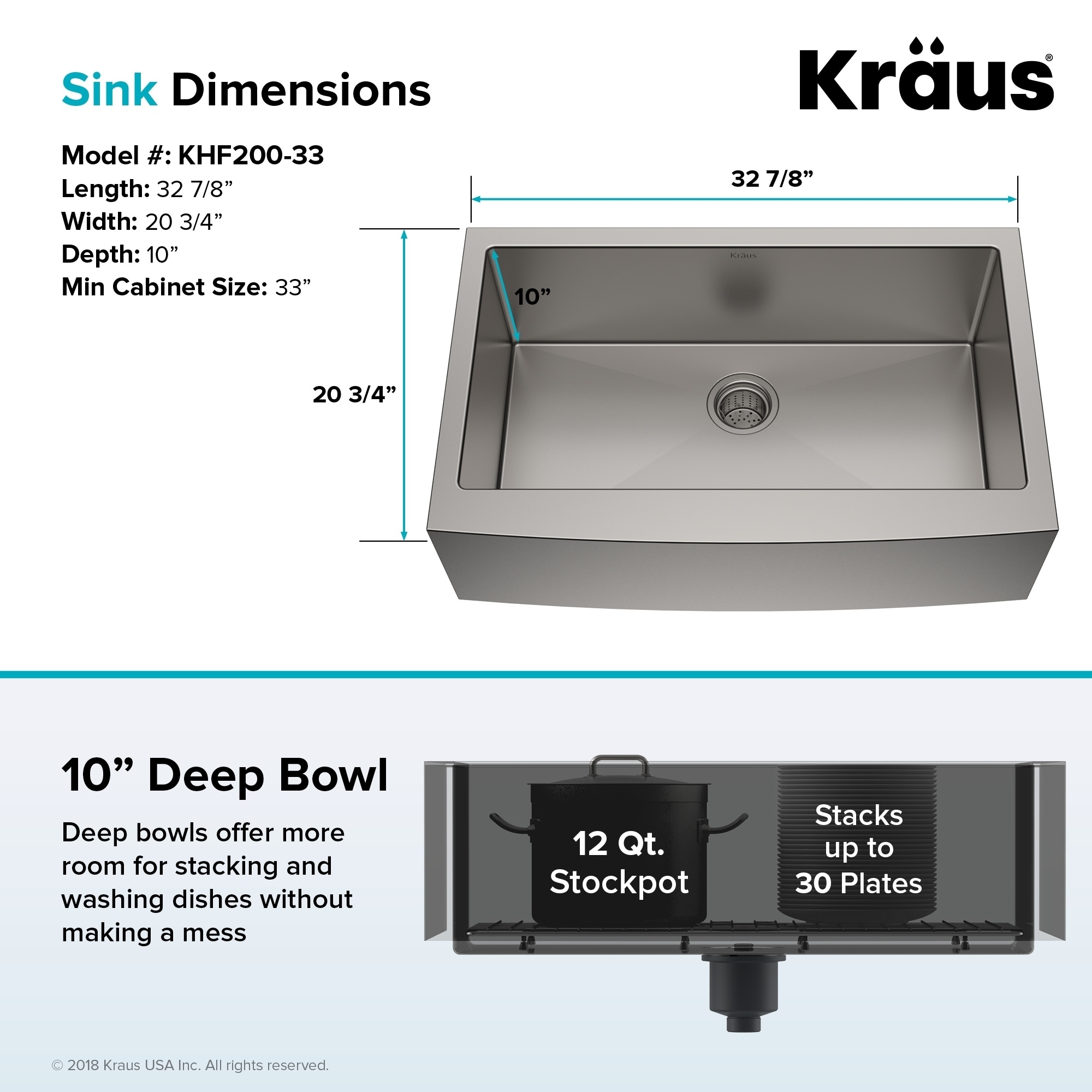 Kraus Khf200 33 Farmhouse Inch 1 Bowl Stainless Steel Kitchen Sink