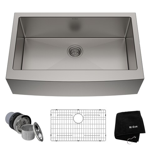Kraus KHF200-33 Standart PRO Farmhouse Apron 33-inch 16 gauge Single Bowl Satin Stainless Steel Kitchen Sink