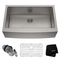 KRAUS 33 Inch Farmhouse Single Bowl Stainless Steel Kitchen Sink with NoiseDefend Soundproofing
