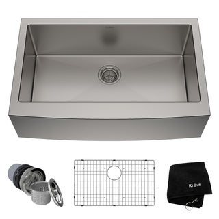 KRAUS 33-inch Farmhouse Single Bowl Stainless Steel Kitchen Sink with NoiseDefend Soundproofing