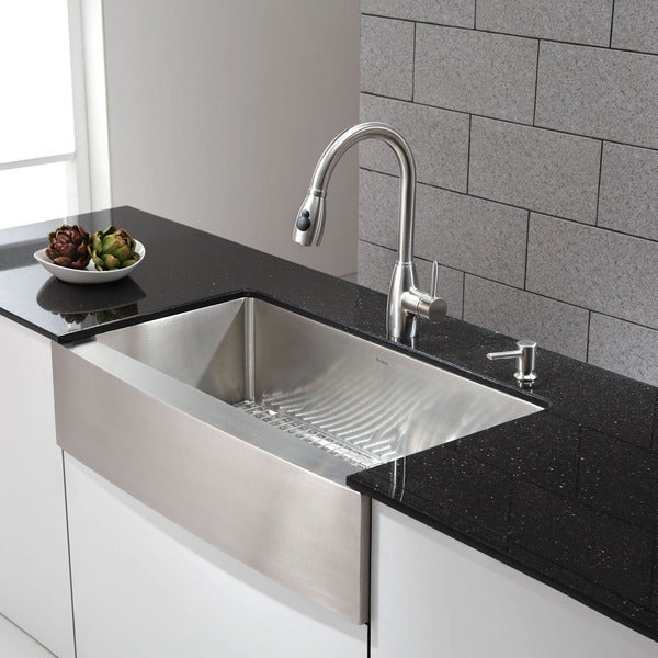 KRAUS 36 Inch Farmhouse Single Bowl Stainless Steel Kitchen Sink with NoiseDe