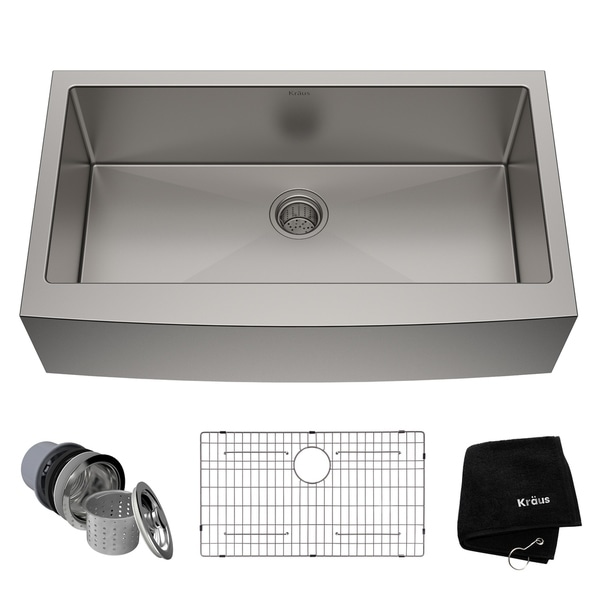 Kraus KHF200-36 Standart PRO Farmhouse Apron 36-inch 16 gauge Single Bowl Satin Stainless Steel Kitchen Sink