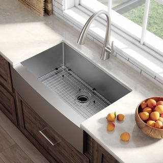 Kraus KHF200-36 Farmhouse Apron Front 36-in 16G 1-Bowl Satin Stainless Steel Kitchen Sink, Grid, Strainer, Towel